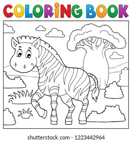 Coloring book African nature topic 4 - eps10 vector illustration.
