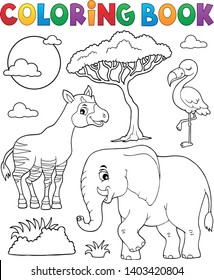 Coloring book African nature topic - eps10 vector illustration.