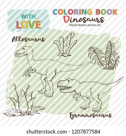 Coloring book Allosaurus and Tyrannosaurs with plant and stone Vector Jurassic Wildlife. Wild animals dinosaurs. Ancient animal character. Wild creatures of the Jurassic period page.