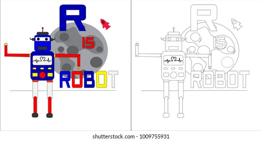 coloring book alphabet for kid. robot cartoon vector