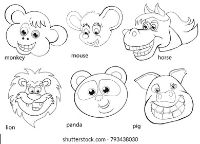 Coloring book. Animal heads. Set. Cartoon style. Isolated image on white background.