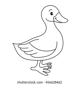 Coloring book with animals farm, duck vector