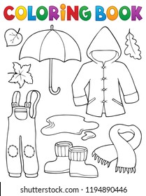 Coloring book autumn objects set 1 - eps10 vector illustration.