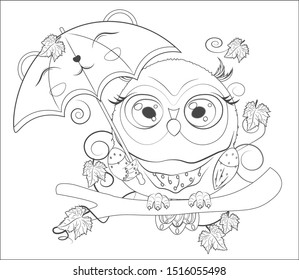Coloring book, Autumn Owl with green eyes, on a branch, with umbrella. The picture in hand drawing cartoon style, can be used for t-shirt print, wear fashion design, greeting card, party invitation