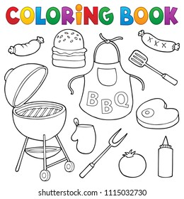 Coloring book barbeque set 1 - eps10 vector illustration.