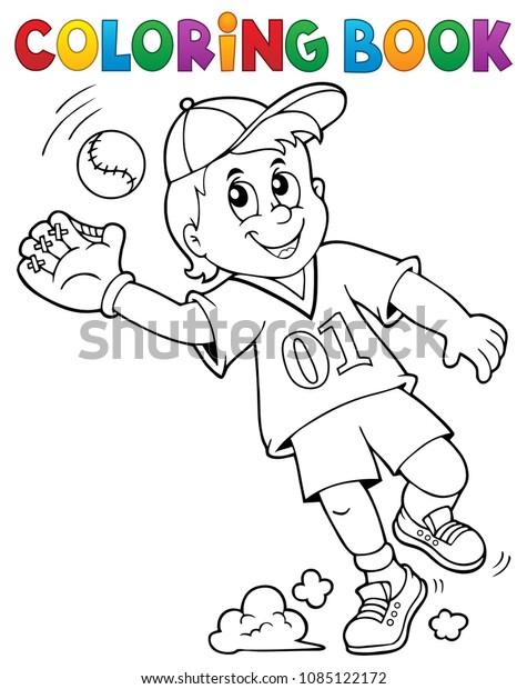 Coloring book baseball player theme 1 - eps10 vector illustration.