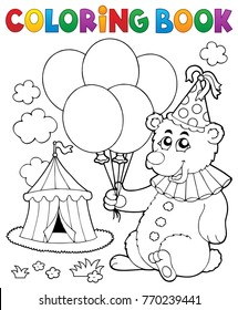 Coloring book bear with balloons - eps10 vector illustration.