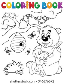 Coloring book bear theme 1 - eps10 vector illustration.