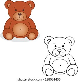Coloring book. Bear toy vector illustration. Isolated on white.