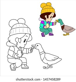 coloring book beautiful little girl wearing a sweater that is feeding ducks with bread