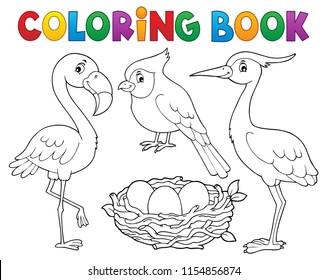 Coloring book bird topic 1 - eps10 vector illustration.