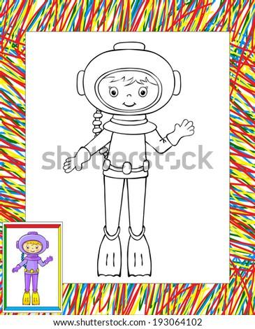 Coloring Book Border Funny Cartoon Diver Stock Vector (Royalty Free ...