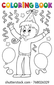 Coloring book boy celebrating theme 1 - eps10 vector illustration.
