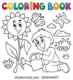 Coloring book boy gardening theme 1 - eps10 vector illustration.