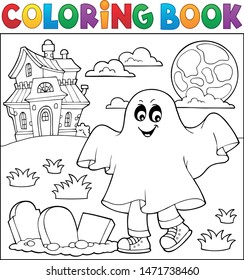 Coloring book boy in ghost costume 1 - eps10 vector illustration.