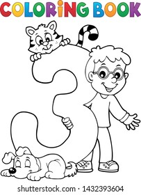 Coloring book boy with number three - eps10 vector illustration.
