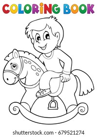 Coloring book boy on rocking horse - eps10 vector illustration.