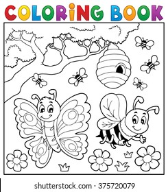 Coloring book with butterfly and bee - eps10 vector illustration.