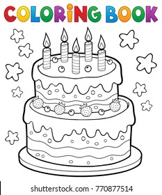 Coloring book cake with 5 candles - eps10 vector illustration.