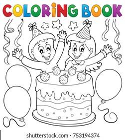 Coloring book cake and kids celebrating - eps10 vector illustration.