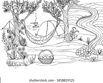 Coloring book camping with hammock, tents, food on the fire, flowers, trees. Vector illustration for a book, greeting card, poster, sticker, design, Wallpaper, game.