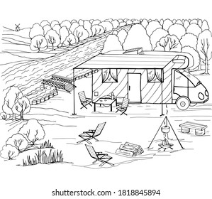 Coloring book camping with a motorhome, solar panel, campfire, summer kitchen, forest, firewood. Vector illustration for a book, greeting card, poster, sticker, design, wallpaper, game.