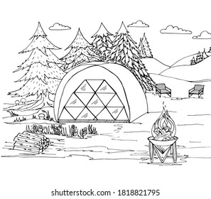 Coloring book camping with a tent, fire, wood, sun beds, Christmas trees, mushrooms. Vector illustration for a book, greeting card, poster, sticker, design, wallpaper, game.