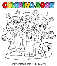 Coloring book carol singing theme 1 - vector illustration.