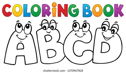 Coloring book cartoon ABCD letters 1 - eps10 vector illustration.