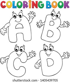 Coloring book cartoon ABCD letters 2 - eps10 vector illustration.