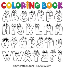 Coloring book cartoon alphabet topic 1 - eps10 vector illustration.