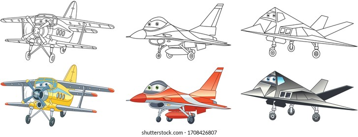 Coloring book. Cartoon clipart airplanes set for kids activity colouring pages, t shirt print, icon, logo, label, patch or sticker. Vector illustration.
