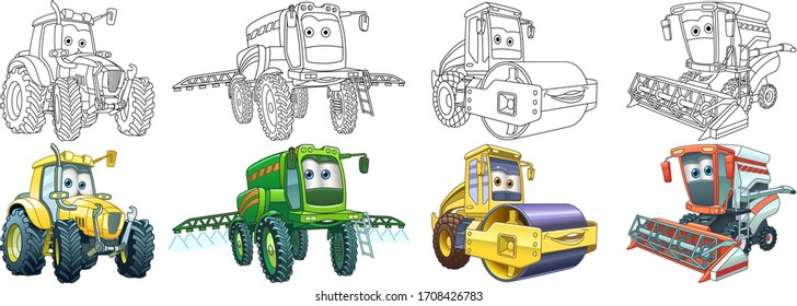 Coloring book. Cartoon clipart cars set for kids activity colouring pages, t shirt print, icon, logo, label, patch or sticker. Vector illustration.