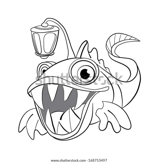 - Coloring Book Cartoon Deepwater Dental Fish Stock Vector (Royalty Free)  168753497
