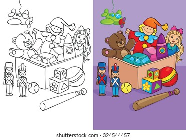 Coloring book or cartoon Illustration of box with toys for children