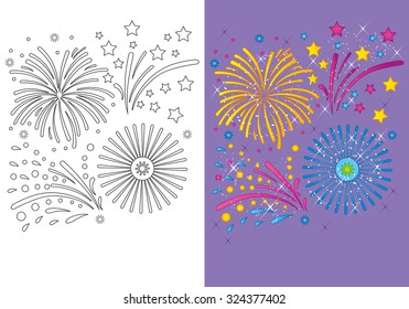 Coloring book or cartoon Illustration of fireworks for children