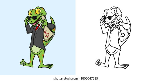 Coloring book cartoon illustration gecko with money bag