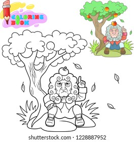 coloring book, cartoon newton sitting under a tree with an apple on his head