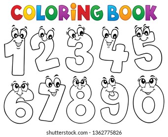 Coloring book cartoon numbers set 1 - eps10 vector illustration.