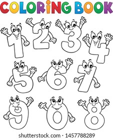 Coloring book cartoon numbers set 2 - eps10 vector illustration.