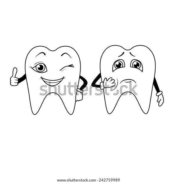 Coloring Book Cartoon Sad Happy Teeth Stock Vector (Royalty ...