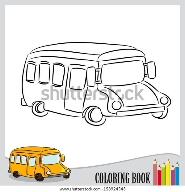 - Coloring Book Cartoon School Bus Vector Stock Vector (Royalty Free)  158924543