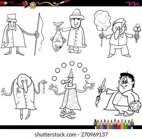 Coloring Book Cartoon Vector Illustration of Funny Professional People Occupations Characters Set