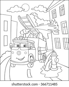 Coloring Book, Cartoon Vector Illustration of Black and White Fire truck. Illustration for the children, coloring page with Emergency car. Doodle Comic Characters Machine for Children Education.