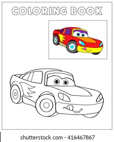 Coloring Book, Cartoon Vector Illustration of Black and White Cars. Illustration for the children, coloring page with red cartoon car. Doodle Comic Characters Machine for Children Education