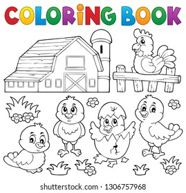 Coloring book chickens and hen theme 2 - eps10 vector illustration.