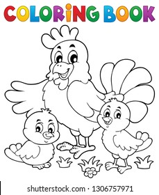 Coloring book chickens and hen theme 1 - eps10 vector illustration.