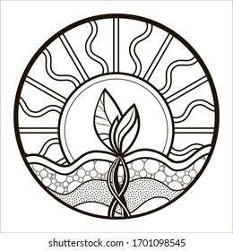Coloring book for children and adults; sprout in the context of the earth; leaves in the sun and roots in the earth; zentangle picture; linear drawing of a sprout in nature; blank for emblem or logo