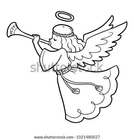 Coloring Book Children Angel Stock Vector (Royalty Free) 1021480027 ...