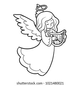 Coloring book for children, Angel with harp